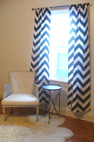 Stripes bedroom curtains open