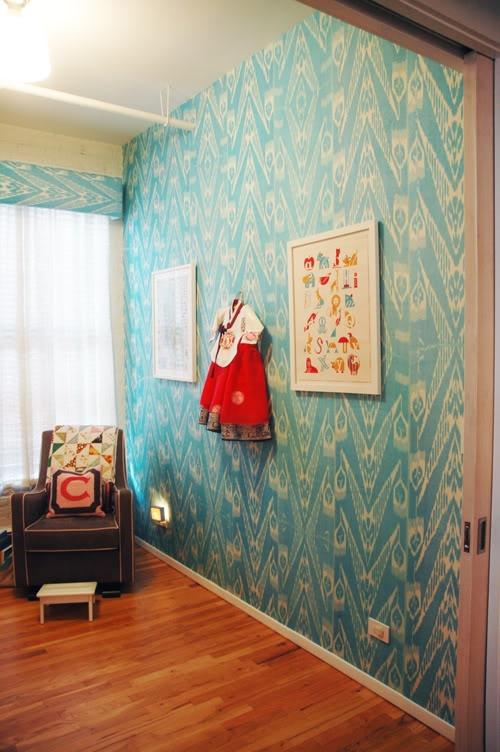 Beautiful Interiors A Unique Nursery Featuring Ikat Wallpaper