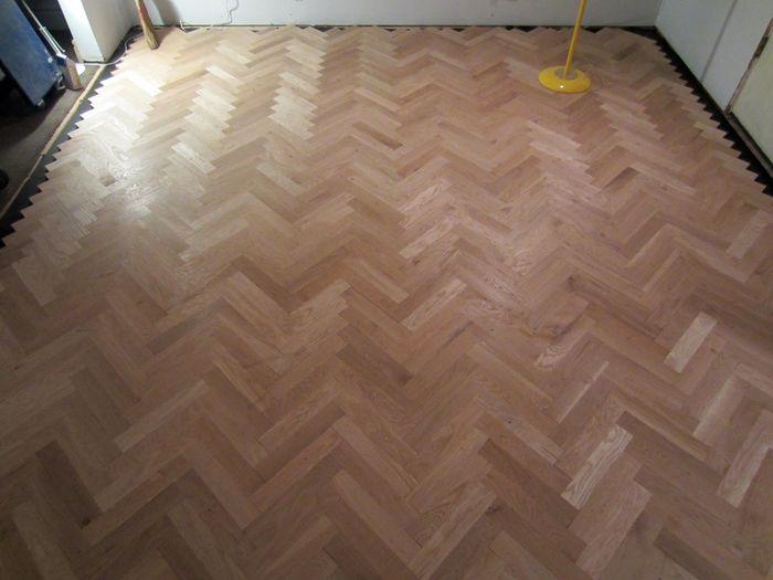 Herringbone unique wood floors installed 2 - Renovations. Unique Herringbone Floors Installed. - Lovely Chaos