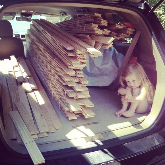 Wood flooring in car with lula