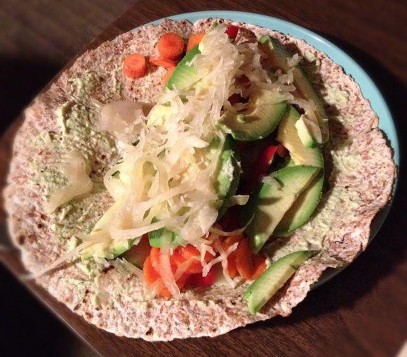 Raw burrito w zucchini hummus