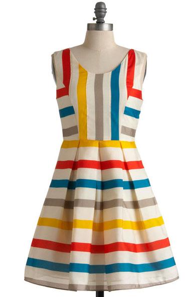 Modcloth colorful striped dress lendperk