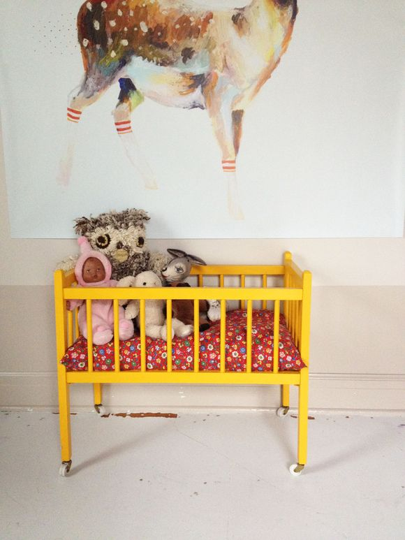 Jan lu's room yellow vintage crib deer print 2