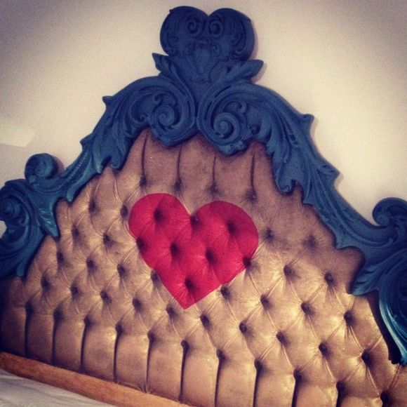 Feb painted heart antique vintage roccoco tufted headboard