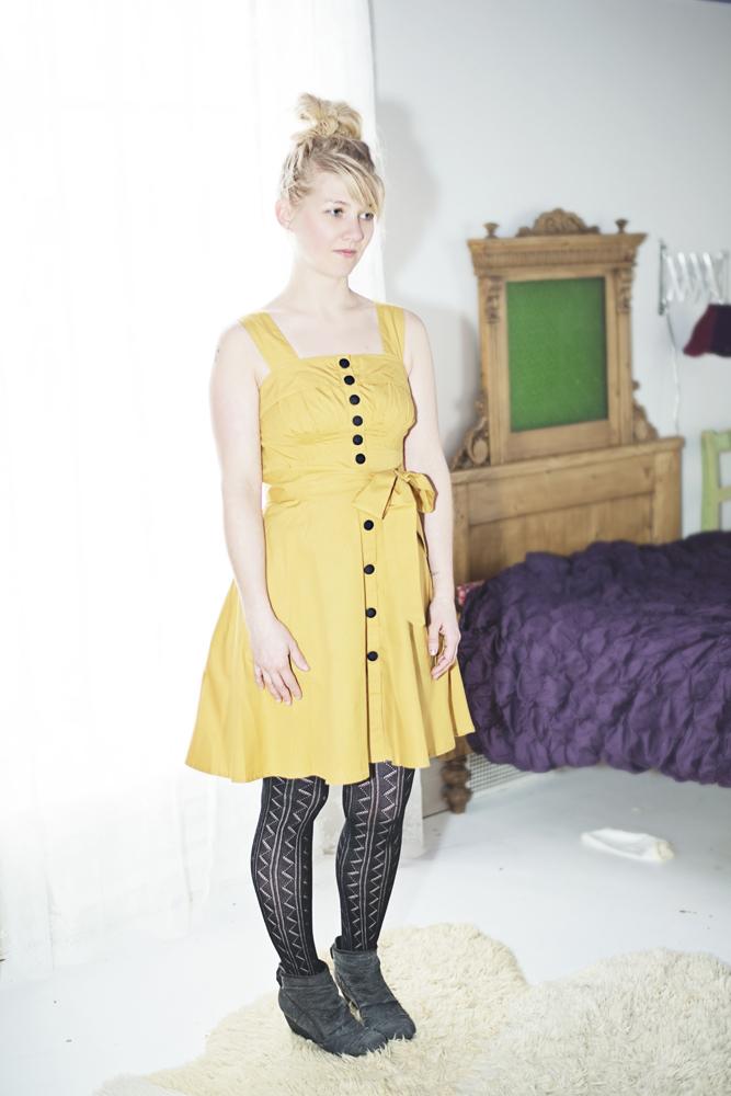 Small eshakti mustard yellow retro dress 3