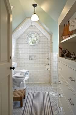 Bathroom tiled ceiling shower