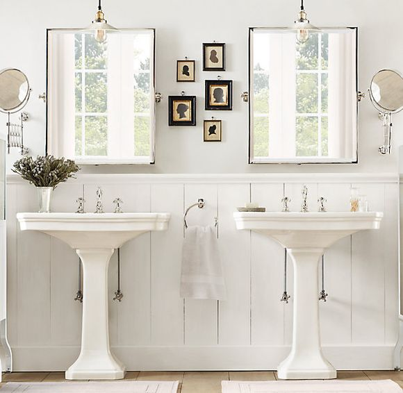 Bathroom white pedestal sink