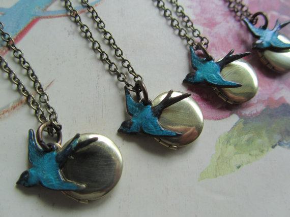 Bridesmaid gift set blue bird round locket necklace