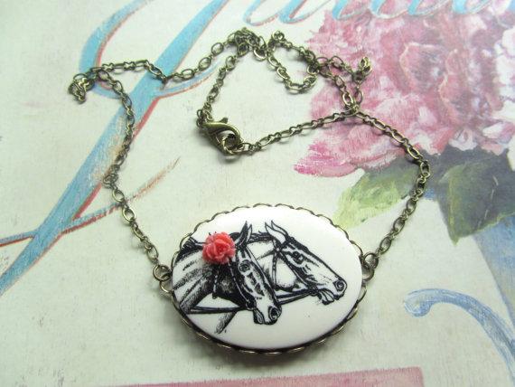 Madison honey vintage horse cameo necklace
