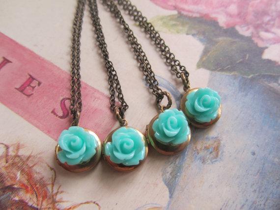 Bridesmaid gift set rose locket necklace