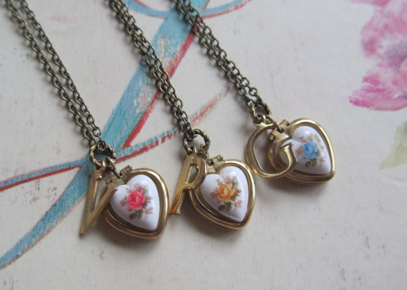 Bridesmaid gift set heart locket necklace