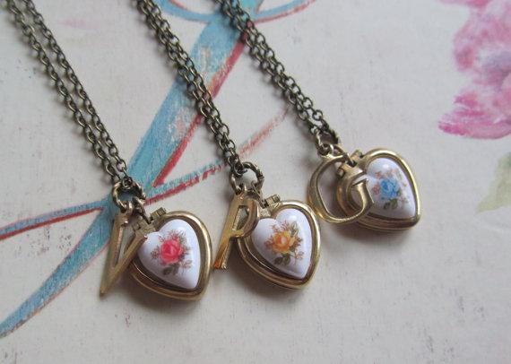 Bridesmaid gift set heart locket necklace