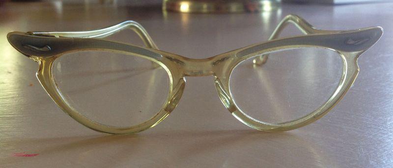 August blue vintage kids cat eyeglasses