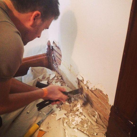 August renovations taking Diesel's door wall down 2